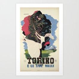 retro plakat torino e le sue valli campagne Art Print