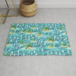 Summer Sunrise Lake Regatta | Multi-Colored Rug