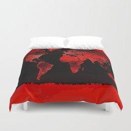 WORLD map : Red Duvet Cover
