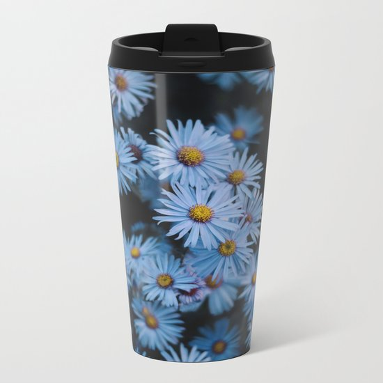 Blue Asters Metal Travel Mug