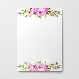 Pink Floral with touch of gold Metal Print