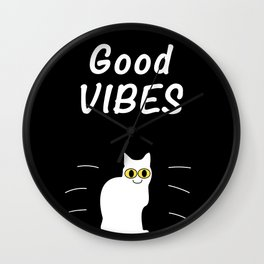 Good Vibes Cat in black Wall Clock