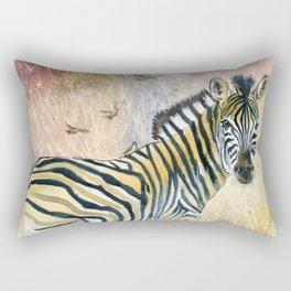 Zebra in Rainbow Savanna Rectangular Pillow