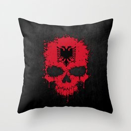 Flag of Albania on a Chaotic Splatter Skull Throw Pillow