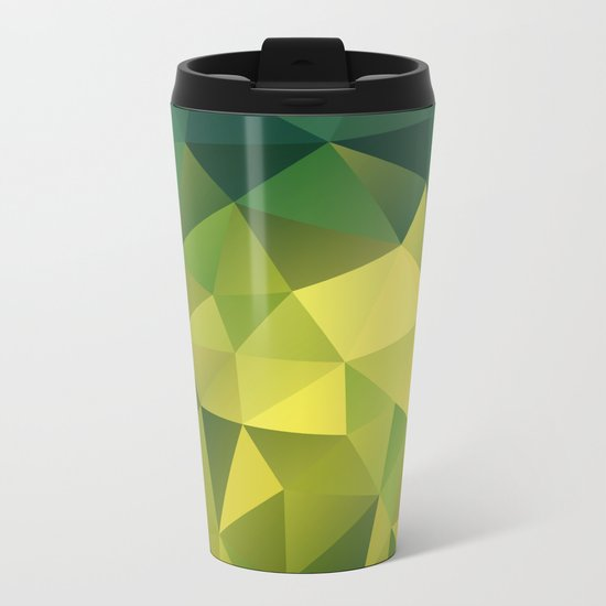 Abstract of triangles polygon in green yellow lime colors Metal Travel Mug