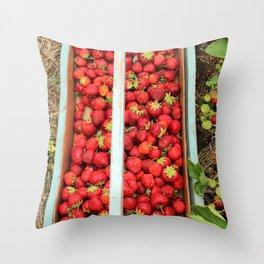 Strawberry Picking Throw Pillow
