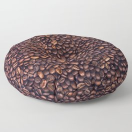 Background of grains of roasted coffee close-up Floor Pillow