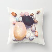 eggs Throw Pillows featuring Eggs by Bridget Davidson