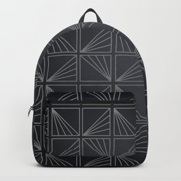 Grey Lined Square Geometric Patterns Backpack