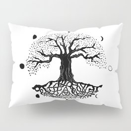 black and white tree of life with moon phases and celtic trinity knot II Pillow Sham