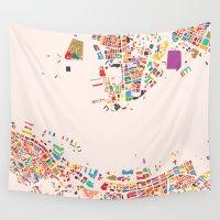 hong kong Wall Tapestries featuring Hong Kong by Maps Factory