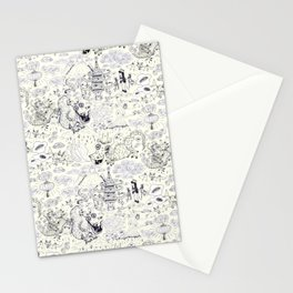 Chinoiserie pattern with dragons, bats, pagodas Stationery Cards