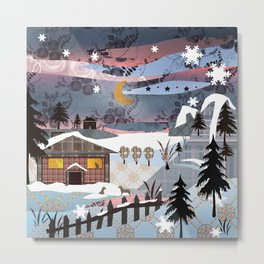 Digital illustration of Winter evening . Quilting. Patchwork . Metal Print