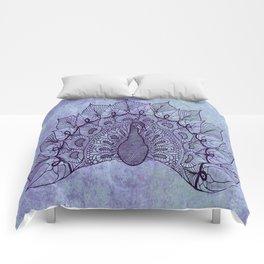 Doodle Peacock Purple Comforters