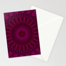 Pink and red ornamented mandala Stationery Cards