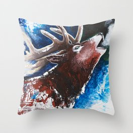 Deer - Valentine - animal by LiliFlore Throw Pillow
