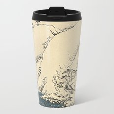 Snowy hills of Kiso in the style of Horoshige Metal Travel Mug