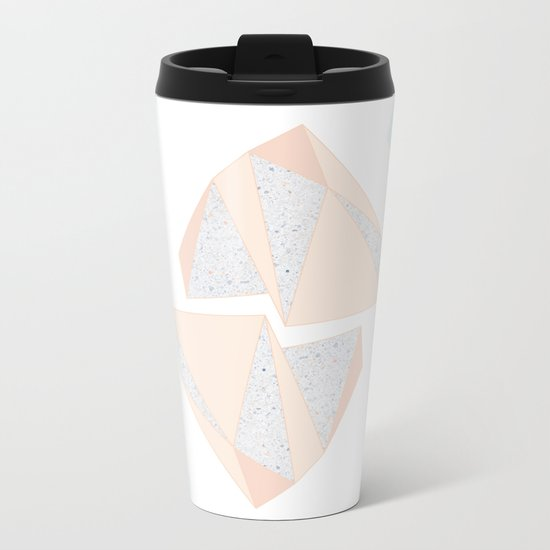 Abstract Iceberg Inspired with Terrazzo Patterns Metal Travel Mug