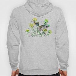 mmingbird design green yew Hummingbird and Yellow Flowers Hoody