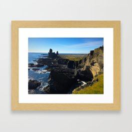 Lóndrangar Rock Pillars in Western Iceland (1) Framed Art Print
