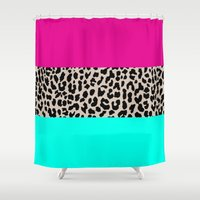 the national Shower Curtains featuring Leopard National Flag by M Studio