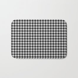 Friendly Houndstooth Pattern, black and white Bath Mat