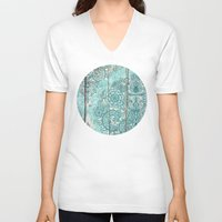 botanical V-neck T-shirts featuring Teal & Aqua Botanical Doodle on Weathered Wood by micklyn