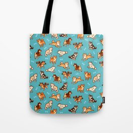 shibas in blue Tote Bag