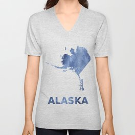 Alaska map outline Blue clouds watercolor pattern Unisex V-Neck