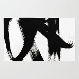 Brushstroke 2 - simple black and white Rug