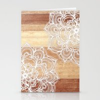 calm Stationery Cards featuring White doodles on blonde wood - neutral / nude colors by micklyn