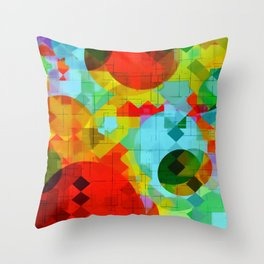 geometric square pixel and circle pattern abstract in red blue yellow Throw Pillow