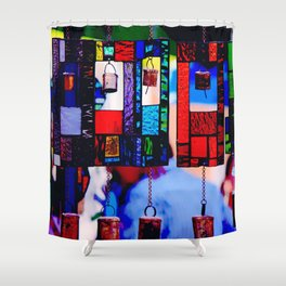 Glass Wind Chimes Shower Curtain
