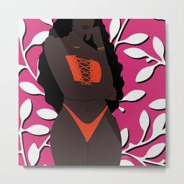 Wallflower // Woman, Black woman, Melanin, Floral, Plant, Pink, Neon Metal Print