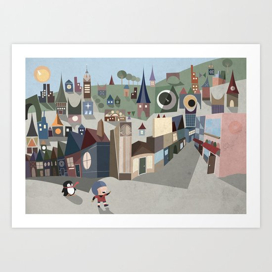 A Boy and his Penguin Art Print