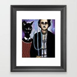 Edgar Allen Poe and Black Cat Framed Art Print
