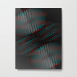Echoes VII - Abstract Glitched Circles Metal Print