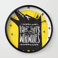 werewolf Wall Clocks featuring WEREWOLF RIGHTS by Matthew Taylor Wilson
