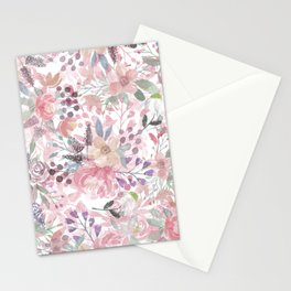 Pastel pink coral green watercolor flowers Stationery Cards