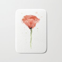 Poppy Watercolor Abstract Red Flower Bath Mat