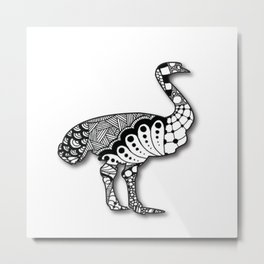 Zentangel Ostrich Metal Print