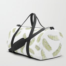 Tropical Beach Palm Leaves (Green and White Repeat Pattern) Duffle Bag
