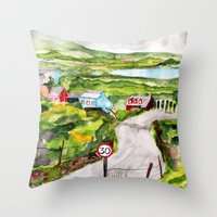 ruben ireland Throw Pillows featuring Ireland by KS Art & Design