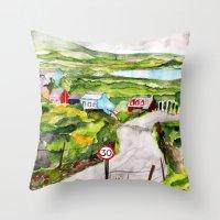 ireland Throw Pillows featuring Ireland by KS Art & Design