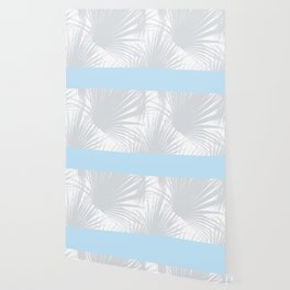Tropical Pastel Grey Palm Leaves on Soft Blue Wallpaper
