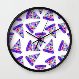 Purple Rainbow Pizza! Wall Clock