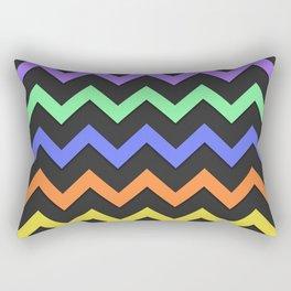 Pink Purple Green Blue Orange Yellow Black Summer Fun Chevron Rectangular Pillow