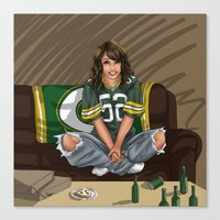 packers Canvas Prints featuring Packers girl by Flocco