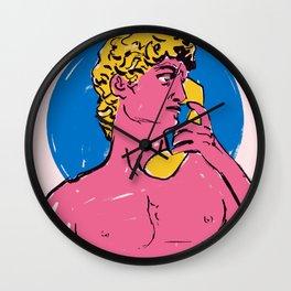 David is Calling.. Statue Pop Art Bold Colors Wall Clock