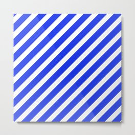 Basic Stripes Blue Metal Print